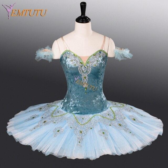 8b8dac43c5 Azul adulto ballet profissional tutu panqueca tutus de ballet clássico  competição estágio desempenho figurinos mulheres bailarina