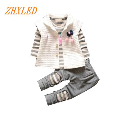 2016 new fashion beautiful baby girl baby girl striped shirt + suit shirt + trousers 3 P C S / children 3 color free shipping