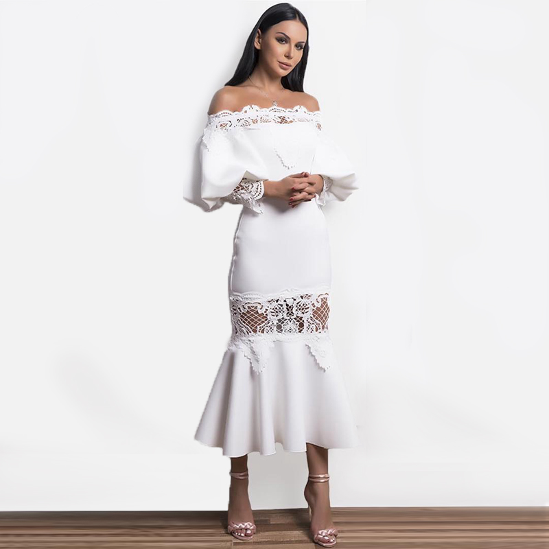 INDRESSME Off The Shoulder Split Floral Lace Bandage Dress Long Sleeve Print Fashion For Women 2018 Party Dresses-في فساتين من ملابس نسائية على  مجموعة 2