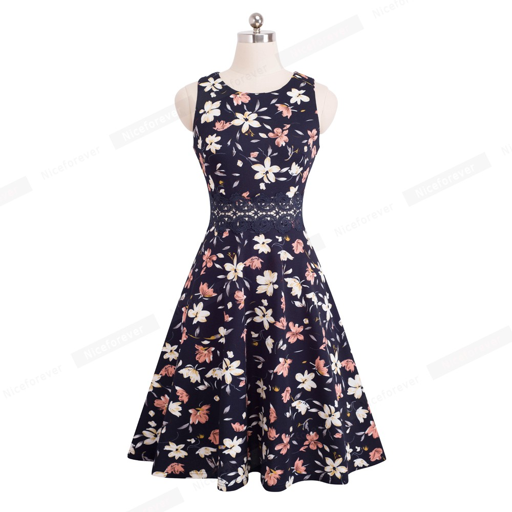 Nice-forever Vintage Elegant Embroidery Floral Lace Patchwork vestidos A-Line Pinup Business Women Party Flare Swing Dress A079 122