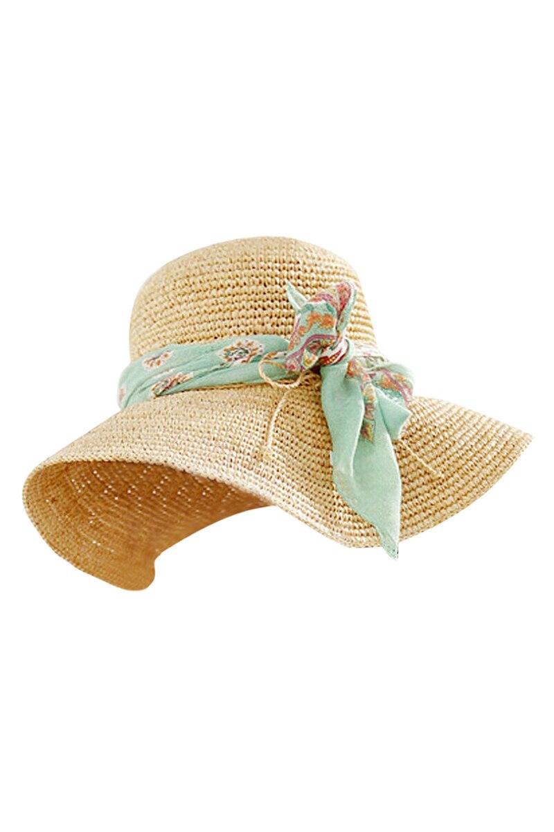 Appreciare Stylish Dap Store NEW Ladies Korea hot wind Cap along the shade of green streamers big straw hat beige
