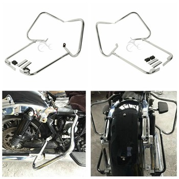 Motorcycle Chrome Rear Saddlebag Bracket Set For Harley Davidson Touring Road King Electra Glide Street Glide CVO 1997-2008