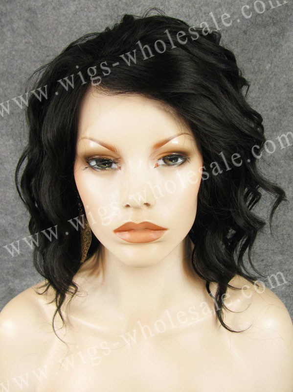 ФОТО synthetic  natural looking lace front wig  black  short curly black natural wigs free shipping