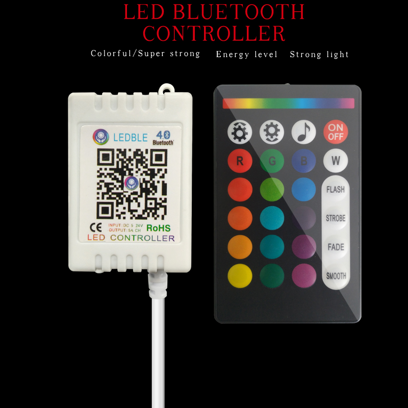 Music RGB RGBW Led Strip Controller Wireless RF 24 Keys Remote Control For Light Bluetooth 5-24V