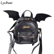 Личи в стиле панк черные крылья летучей мыши кожаный рюкзак школьный для подростка Обувь для девочек Повседневное Harajuku сумка