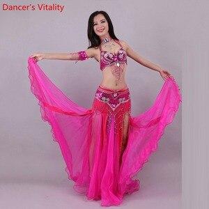 Image 1 - Handgemachte Perlen Stickerei Bh Rock Bauchtanz Kostüm Für Frauen Orientalischen Kleid Für Dance set nach maß Freies Verschiffen