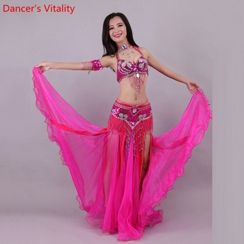 Handmade Beaded Embroidery Bra Skirt Belly Dance Costume For Women Oriental Dress For Dance set custom made Free Shipping free shipping yulaili artificial precious stone factory unique design women costume beaded jewelry set