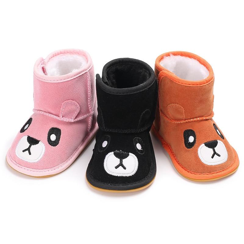 2018 новорожденных Зима для маленьких девочек загрузки с милым медведем для маленьких мальчиков обувь, сохраняющая тепло Лидер продаж первых...
