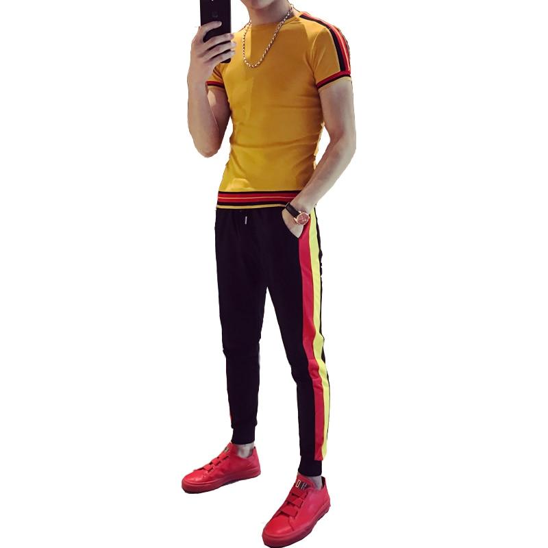 Loldeal 2 Piece Set Men Autumn Plus T Shirts+Sweatpants Suit Zipper Long Sleeve Blend Cotton Tracksuit Camisetas Hombre
