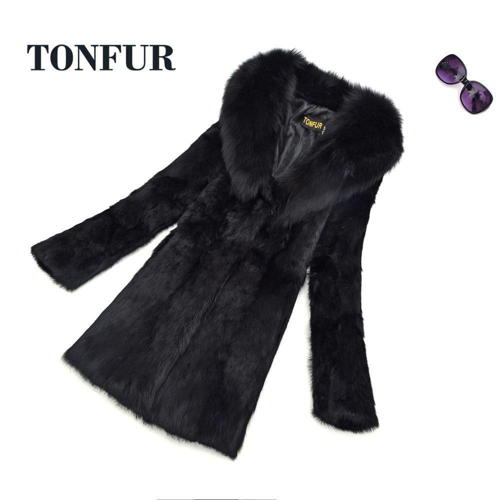 2019 Natural Fur Full Pelt Rabbit Fur Coat with Fox Fur Collar Women Long Fox Fur