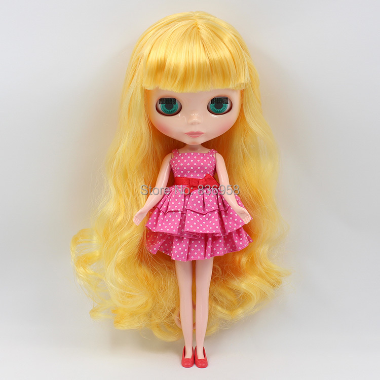Yellow Curly Long Hair With Normal Skin Nude Blyth Doll -2467