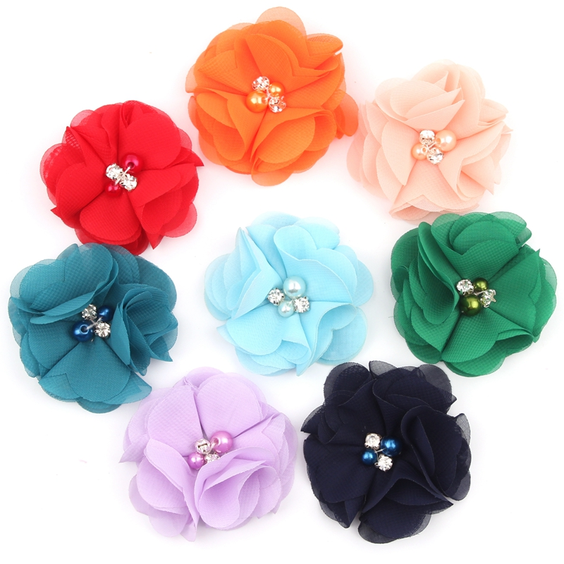 4pcs/lot New 2 Chiffon Flowers Hairpins Headwear For Newborn Headbands Shabby Chiffon Flowers Hair Clips Girls Hair Accessories 50pcs lot 4 1 17colors shabby lace mesh chiffon flower for kids girls hair accessories artificial fabric flowers for headbands