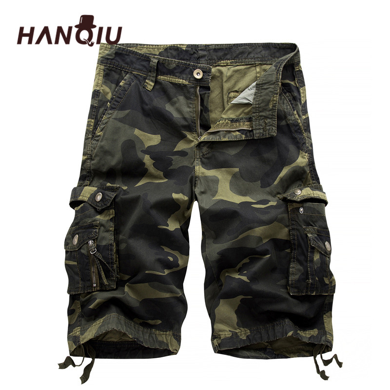 2018 Ռազմական Camo Cargo Shorts Summer Fashion Camouflage Multi-Pocket Homme Army Պատահական Շորտեր Bermudas Masculina
