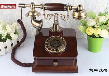 Obracającego się dysku wysokiej jakości antyczne telefony drewno metal w stylu Vintage antyczne telefony tanie i dobre opinie Przewodowe BINYEAE corded