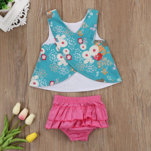 Infant Baby Girl Outfit Clothes Vest Top T-shirt+Tutu Shorts Pants Set ...