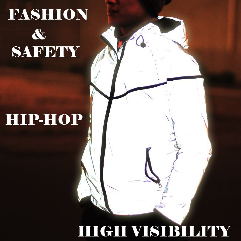 Casual hip hop coat windbreaker fashion reflective safety jacket coat high visibility silvery for running jogging for men