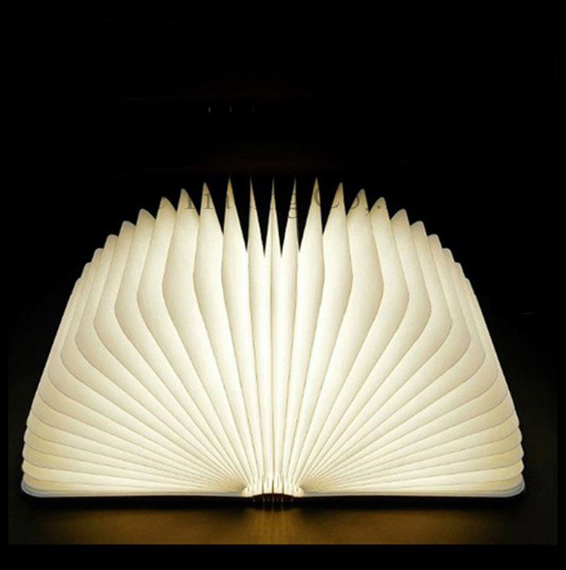 Creative Gift Wooden LED Portable book lamp USB charging folding night light  flip magic lamp abajur luminaria lamparas luzes creative flip book page led nightlight