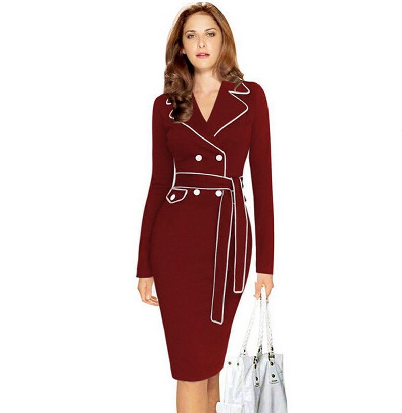 Women Elegant Colorblock Button V Neck Slit Wear to Work Office Business Career Slimming Stretch Bodycon Dress Full Sashes dress