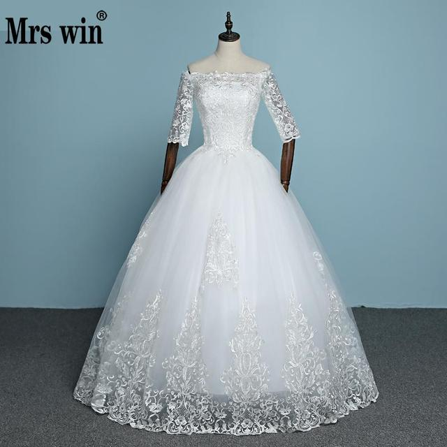 2018 New Arrival Engerla Half Sleeve Lace Wedding Dress Boat Neck ...