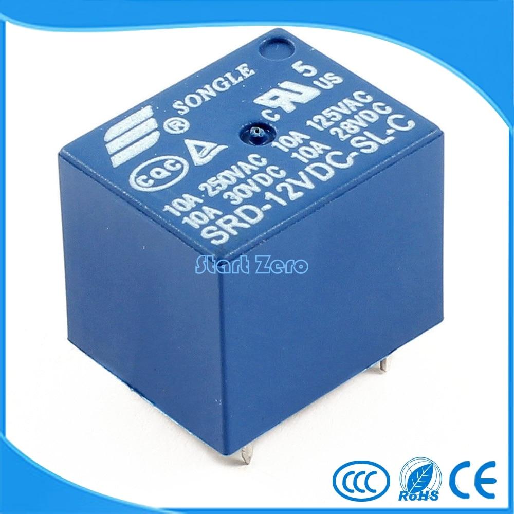 цена на 5Pcs Mini Module SRD-12VDC-SL-C DC12V SPDT 5 Pins Plastic Coil Power Relay Blue