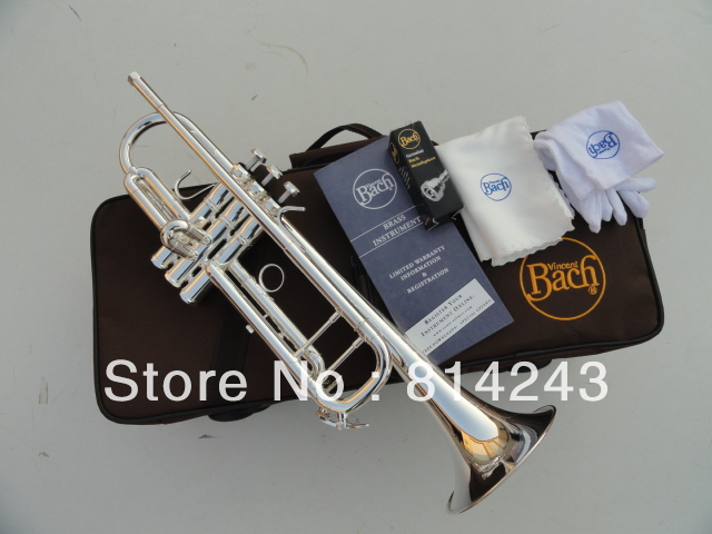 Bach Bb Trumpet LT180S-37 Small Instruments Surface Silver Plated Brass Brand Bach Bb Trumpet Professional Musical Instrument