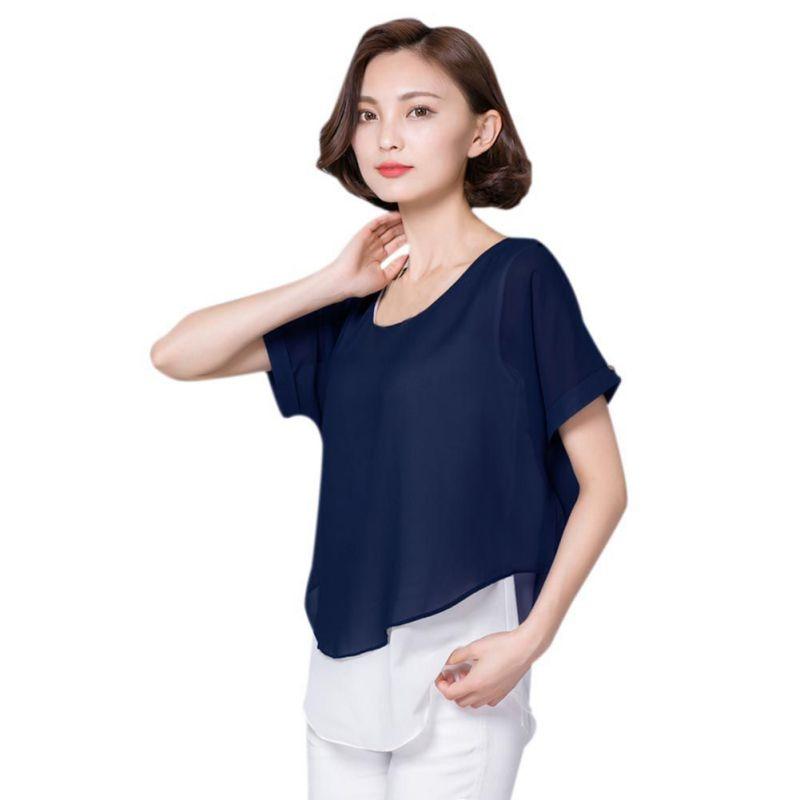 2017 Summer Blouses Women Elegant Shirts Short Sleeve Fake Two Pieces Chiffon Blouse Casual Lady Tops Shirt Female