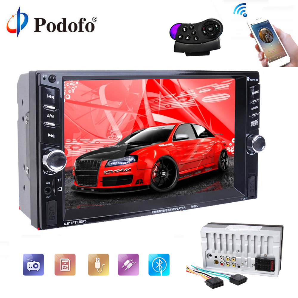 Podofo 2 Din Car Radio MP5 Player 6.6 Touch screen Car audio Auto Audio Bluetooth autoradio Stereo SD FM Audio rear view camera podofo 2 din car radio 6 6 lcd touch screen car audio 12v auto radio player with bluetooth fm rear view camera autoradio stereo