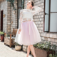 5 Layers Midi A Line Tutu Tulle Skirt High Waist Pleated Skater Skirts Womens Vintage Lolita Ball Gown Summer 2019 saias jupe недорого