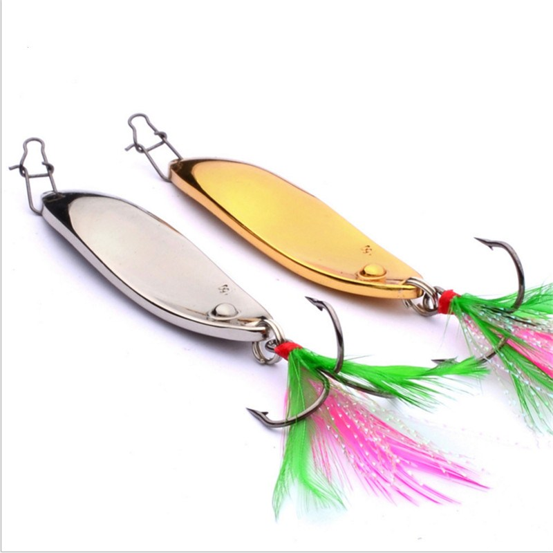1PCS Metal Silver Gold Sequins Fishing Lure Feather Hook 11g 15g Spoon fishing Baits Noise Paillette Hard Artificial Lure metal spinner 5g 10g 15g 20g silver gold bass pike dd spoon bait fishing lure iscas artificial hard baits crap fishing tackle