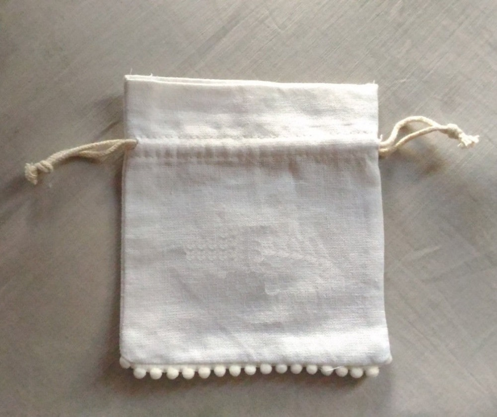 Lace Cotton Gift Bag 9x13cm 10x15cm Pack Of 50 Makeup Jewelry Drawstring Pouch