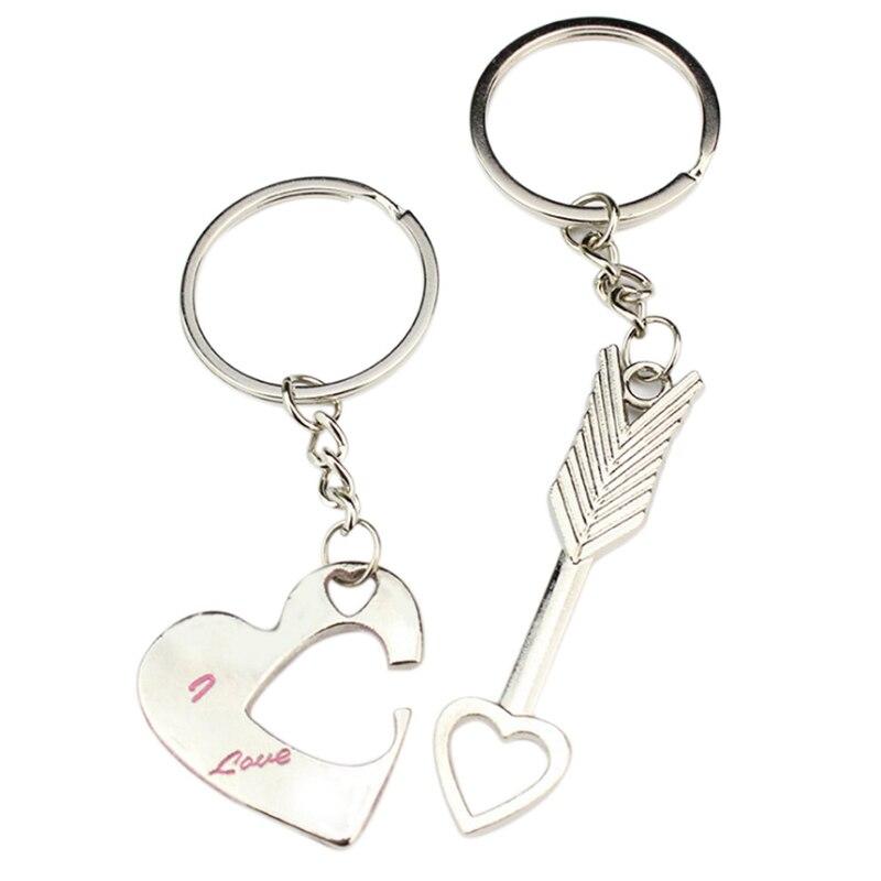 1 Pair Couples Keyring Keychain Key Ring Chain Holder Keyfob Pendant Valentine's Day Wedding Birthday Christmas Lover Gift
