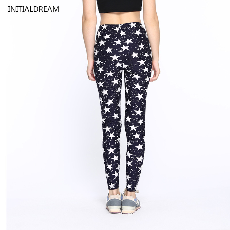 INITIALDREAM Women Large Size   Leggings   High Waist Stars Graffiti Print Skinny Leggins Milk Thin Stretch   Legging   Pants Female