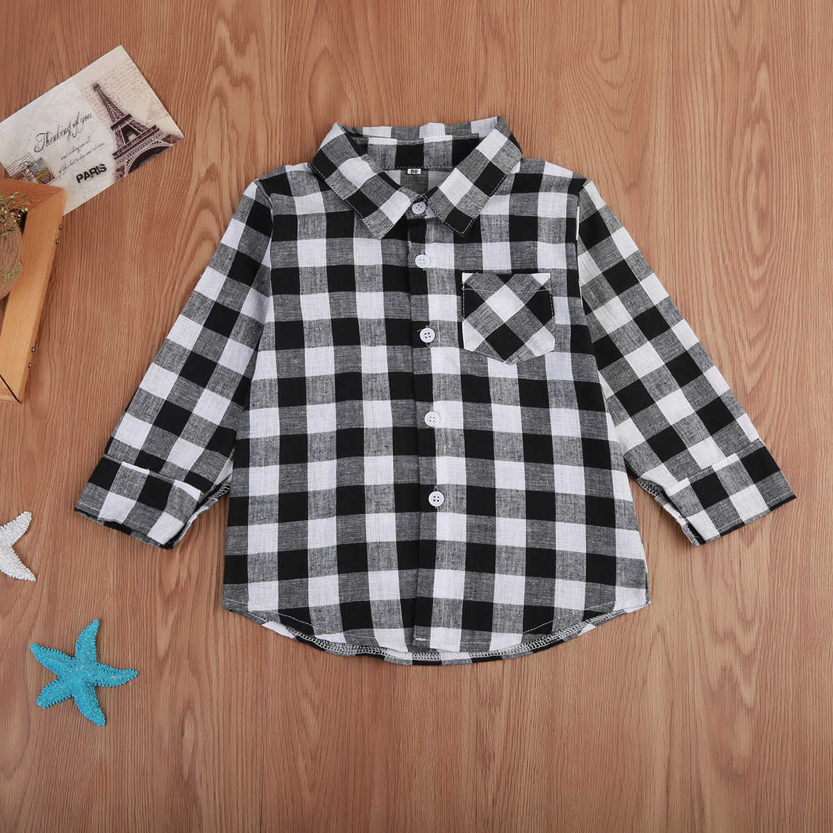 99778b6ec Baby Kids Boy Girl Long Sleeve Shirt Plaid Check Cotton Tops Blouse Casual  Clothes 1-