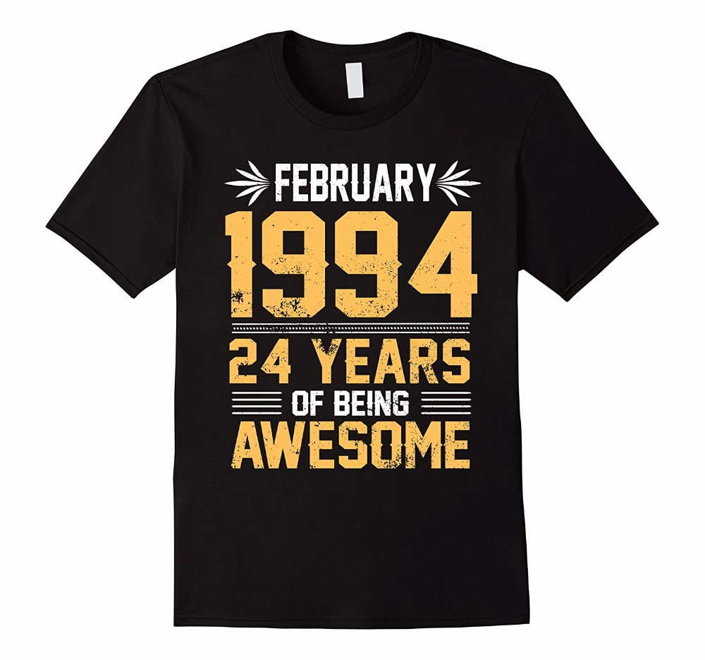 T Shirt Shop Online Mens Short Sleeve Printed O-Neck Legends Born In FEBRUARY 1994 24 Yrs Years Old Being Awesome Tee
