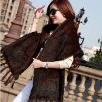 2019 Genuine Knitted Leather Mink Scarf Winter Scarf Wrapped Ladies Warm Handwoven Scarf Fashion Natural Fur Black/Brown Shawl