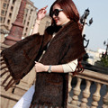 Female Knitted Real Mink Fur Scarf Winter Neck Wrap Women Warmer Fashion Natural Fur Shawl LZ05