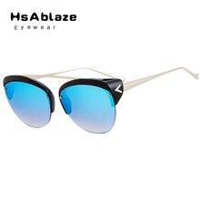 Hsablaze eyewear 2017 cat ojo gafas de sol sin montura hombres mujeres de la marca gafas de sol de calidad superior de las señoras gafas de sol oculos feminino