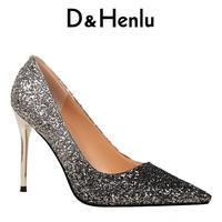 D Henlu Brand Women Shoes Sexy Metal Heel Sequined Women S Gradient Heels 9 5cm Super