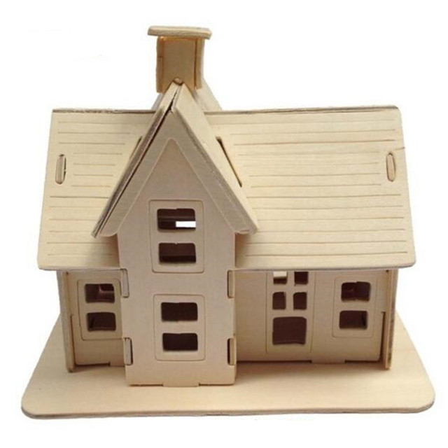 Educational Toy Wooden Build House Miniature Model 3d Puzzles For Children Diy Country Station Design