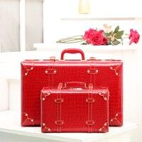 Корея модные женские туфли красный искусственная кожа ретро чемодан наборы, невеста старинные замуж чемоданы, коробки, women14 22 24 дюймов чемод