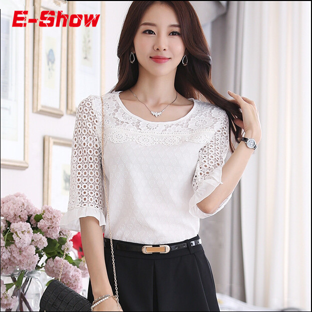 6ddf4c8b Summer Style 2015 White Woman Lace Blouse Fashion Half Sleeve Camisa Chiffon  Casual Shirts Tops Patchwork Blusas Feminina E405
