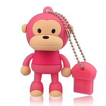 J-boxing Pink 64GB USB Flash Drive Funny Monkey Design Pendrive Memory Stick Women 16GB 32GB Thumb for Computer Mac Tablet