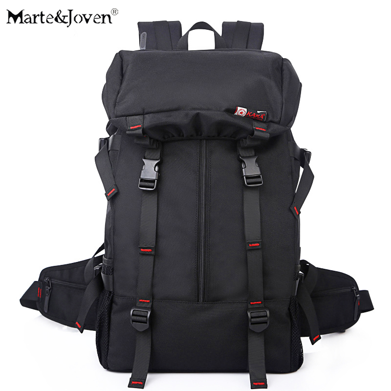 [Marte&Joven] 2017 Design Multi-function Black Trekking Backpack Travel Bags for Men Large Capacity Carry On Travel Rucksack