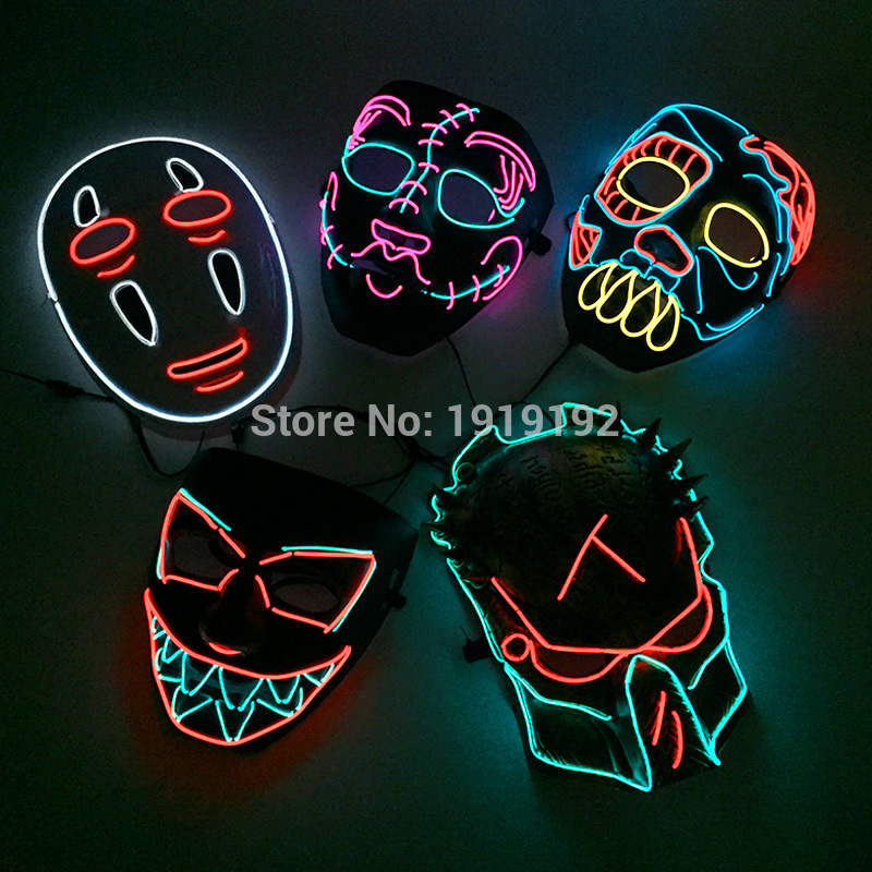 2018 Hot Type EL Mask Energy saving Colorful Select el wire mask by 3V Sound Active For Halloween holiday Party Mask Decoration