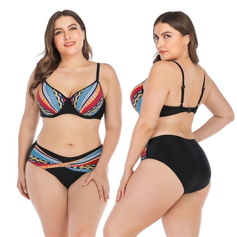 2019 Plus Size Swimsuits Women Two Pieces Big Cup Bikini Mujer Push Up Bathing Suit Beachwear Swimwear Biquini Mayo Beach Dress in Bikinis Set from Sports Entertainment