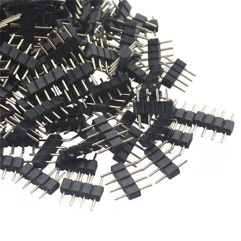 10 pçs/lote adaptador de conector led 4pin 5pin agulha tipo macho duplo 4 pinos rgb/5 pinos rgbw conector para 3528 5050 led strip luz