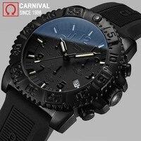 Карнавал часы с Тритиевой подсветкой для мужчин спорт Diver хронограф s часы лучший бренд класса люкс кварцевые наручные часы световой часы