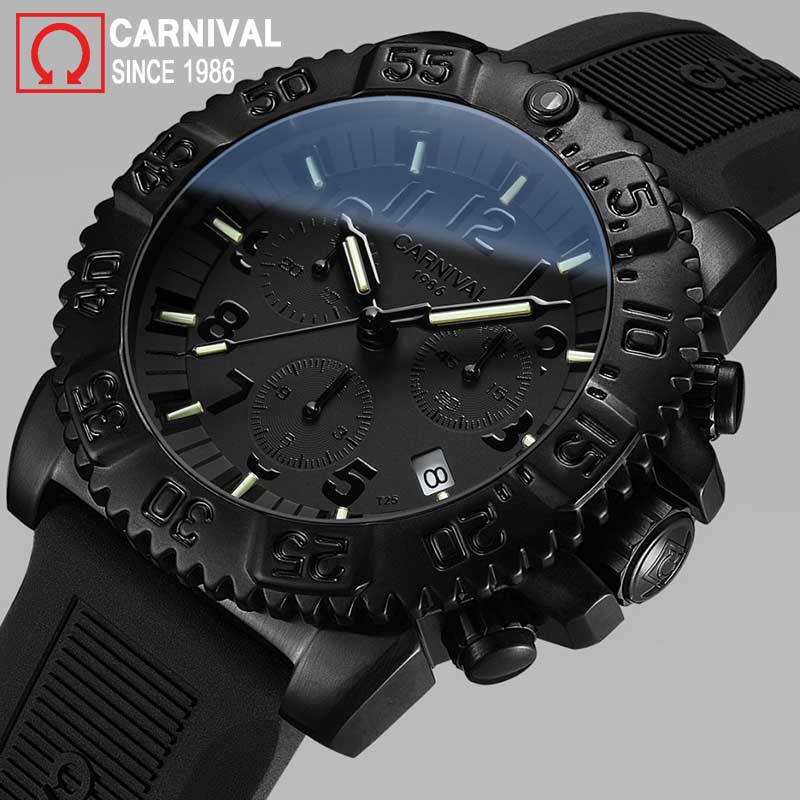 Carnival Tritium Watch Men Sport Diver Chronograph Mens Watches Top Brand Luxury Quartz Wristwatch Luminous Clock montre homme