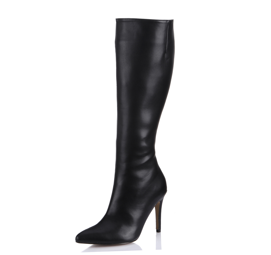2016 Winter Black Sexy Career Work Office Shoes Women Pointed Toe Stiletto Heels Ladies Knee-High Boots Zapatos Mujer 70887BT-r4