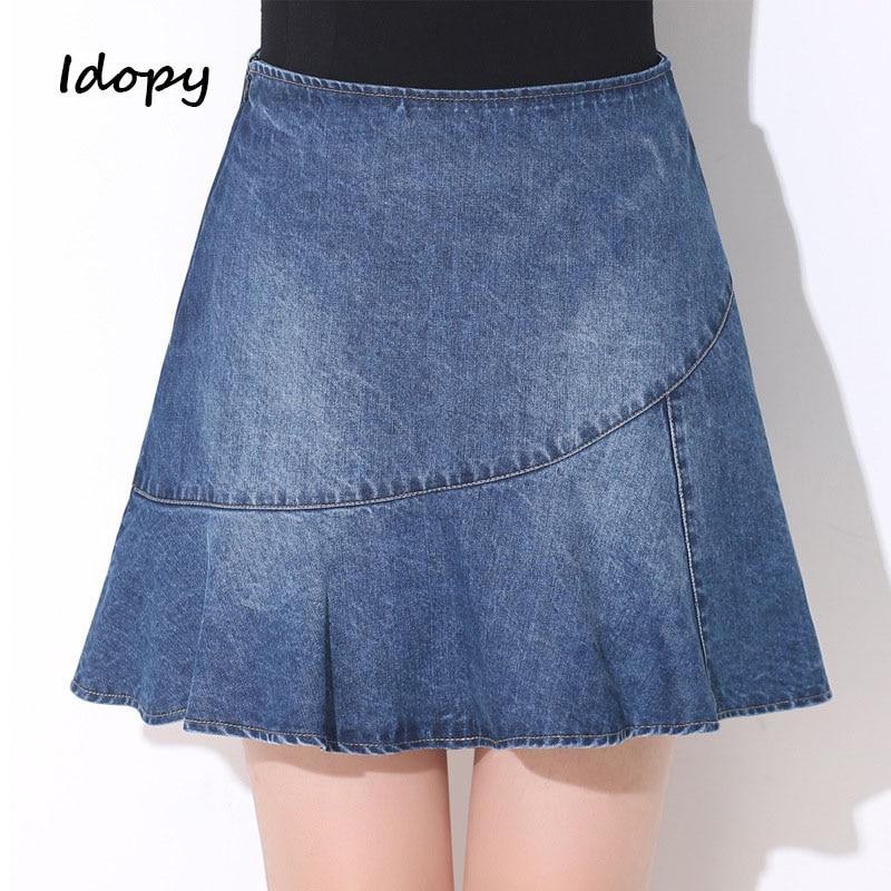JOFOW Womens Denim Shorts Pleated Ruffle Distressed Ripped Pants